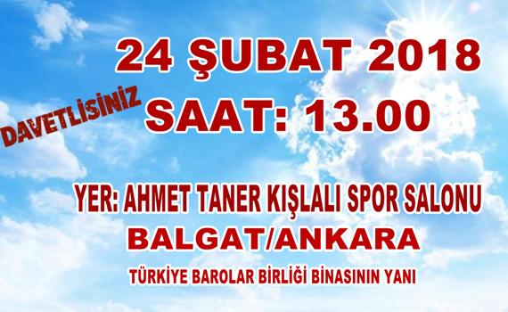 24 ŞUBAT 2018 SAAT:13.00'TE AHMET TANER KIŞLALI SPOR SALONU'NDA
